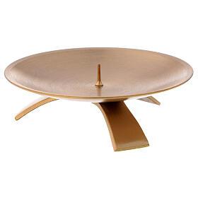 Castiçal 3 pés latão acetinado dourado 12 cm s3
