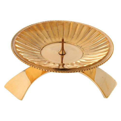 Candleholder in striped golden satin brass 7 cm 1