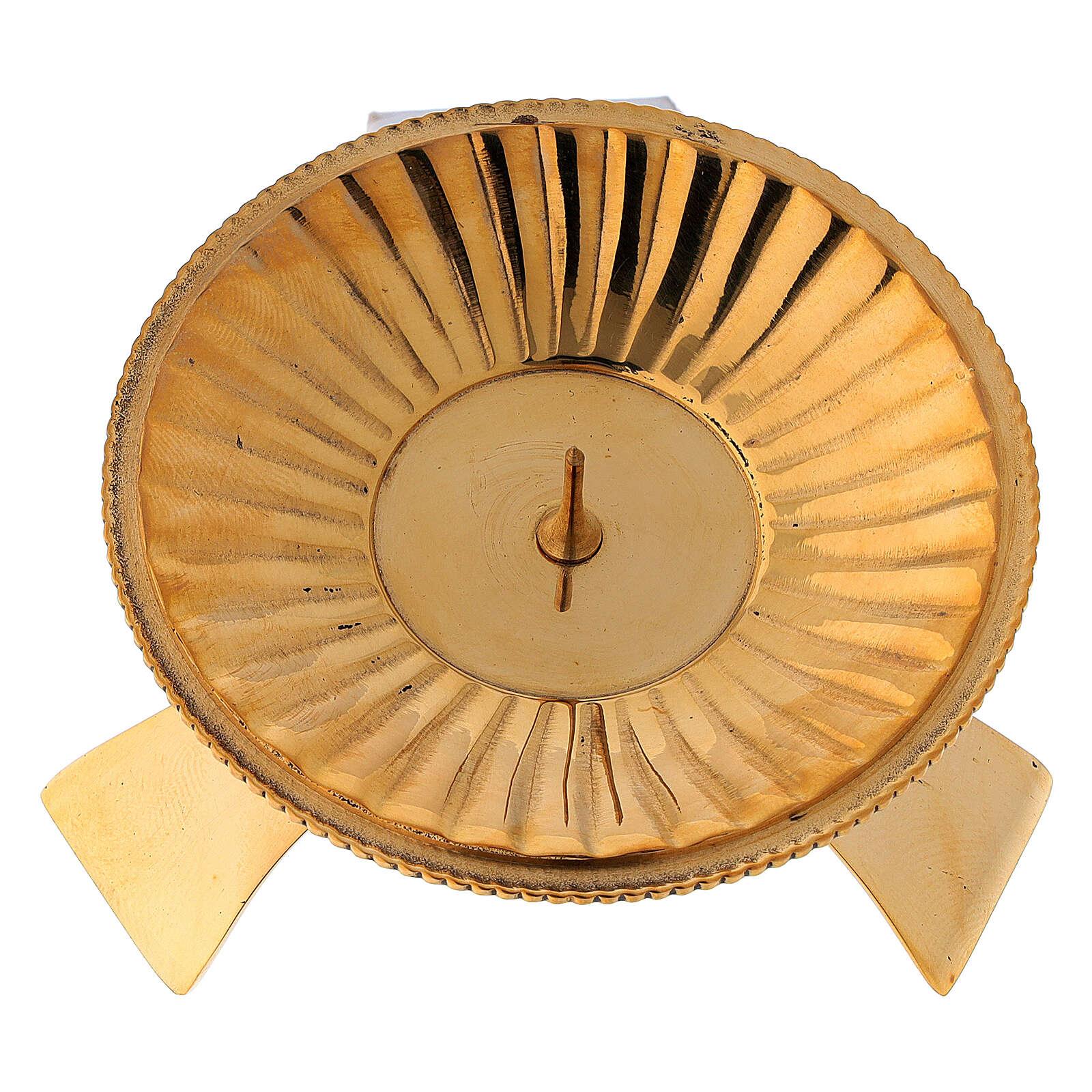 Portacandela decoro a righe ottone satinato dorato 7 cm 4