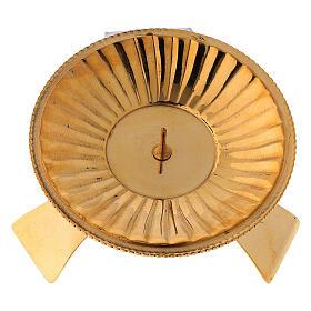 Portacandela decoro a righe ottone satinato dorato 7 cm s2