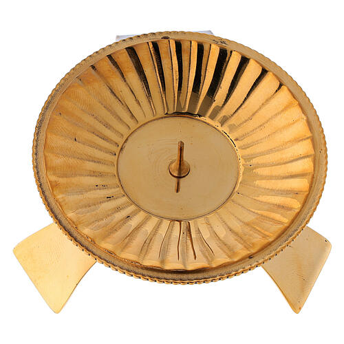 Portacandela decoro a righe ottone satinato dorato 7 cm 2