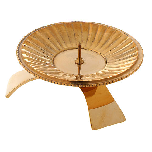 Striped candlestick in polished gold plated brass 2 3/4 in 3