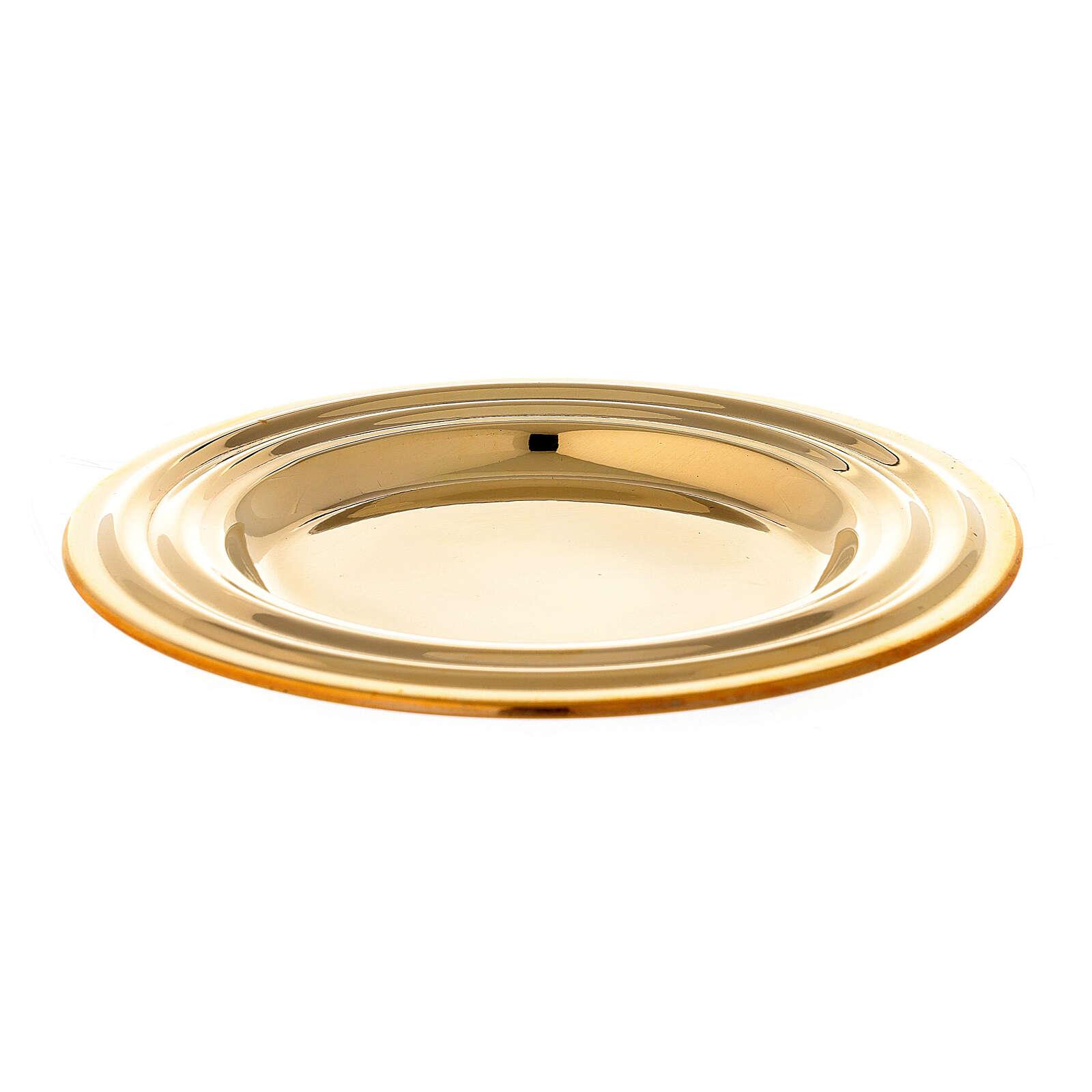 Round golden brass candle holder plate diameter 13 cm 3
