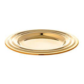 Round golden brass candle holder plate diameter 13 cm s1