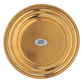 Round golden brass candle holder plate diameter 13 cm s3
