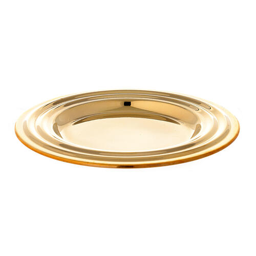 Round golden brass candle holder plate diameter 13 cm 1