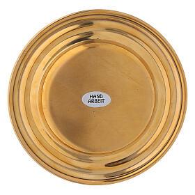 Plato portavela redondo latón dorado diámetro 13 cm s3