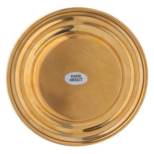 Plato portavela redondo latón dorado diámetro 13 cm 3