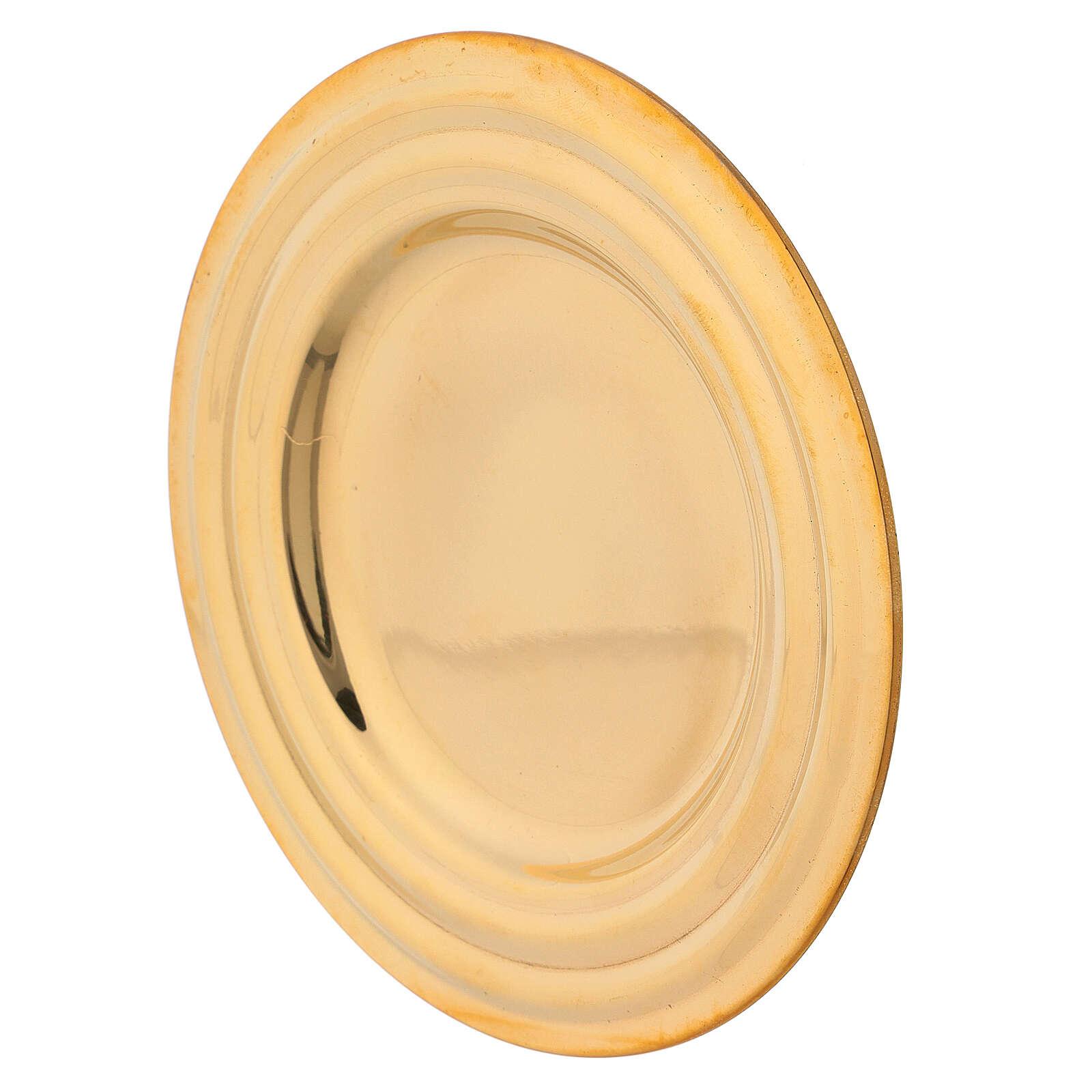 Piatto portacandela rotondo ottone dorato diametro 13 cm 3