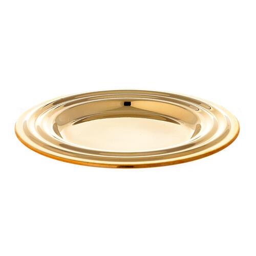 Piatto portacandela rotondo ottone dorato diametro 13 cm 1
