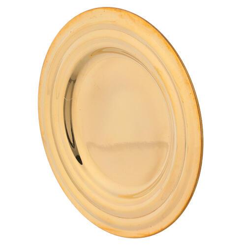 Piatto portacandela rotondo ottone dorato diametro 13 cm 2