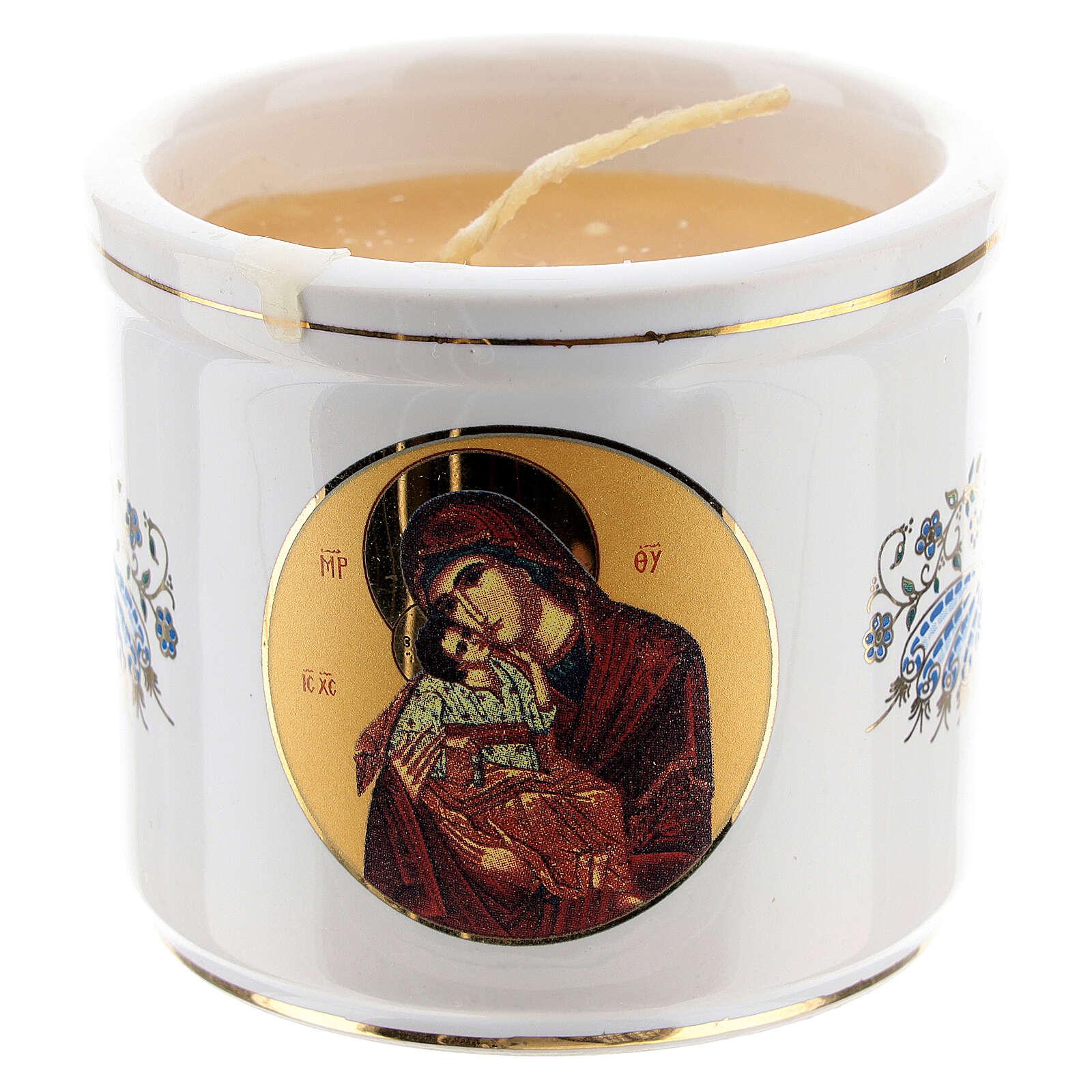 Castiçal grego Cristo Pantocrator e Virgem 3