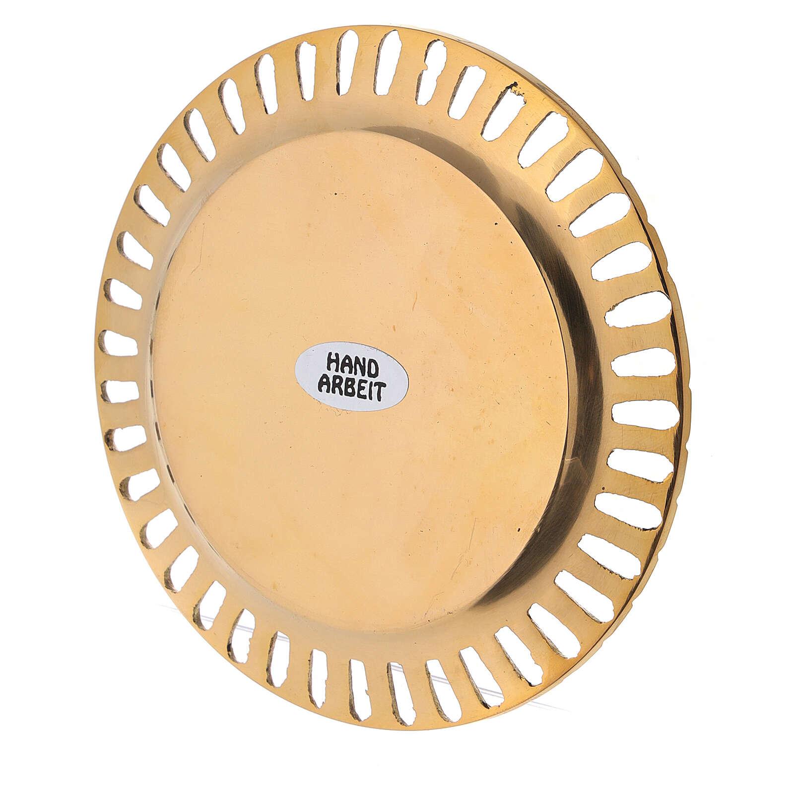 Platillo portavela perforado latón dorado lúcido d. 7 cm 3