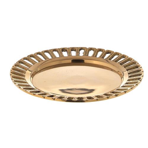 Piattino portacandela traforato ottone dorato lucido d. 7 cm 1