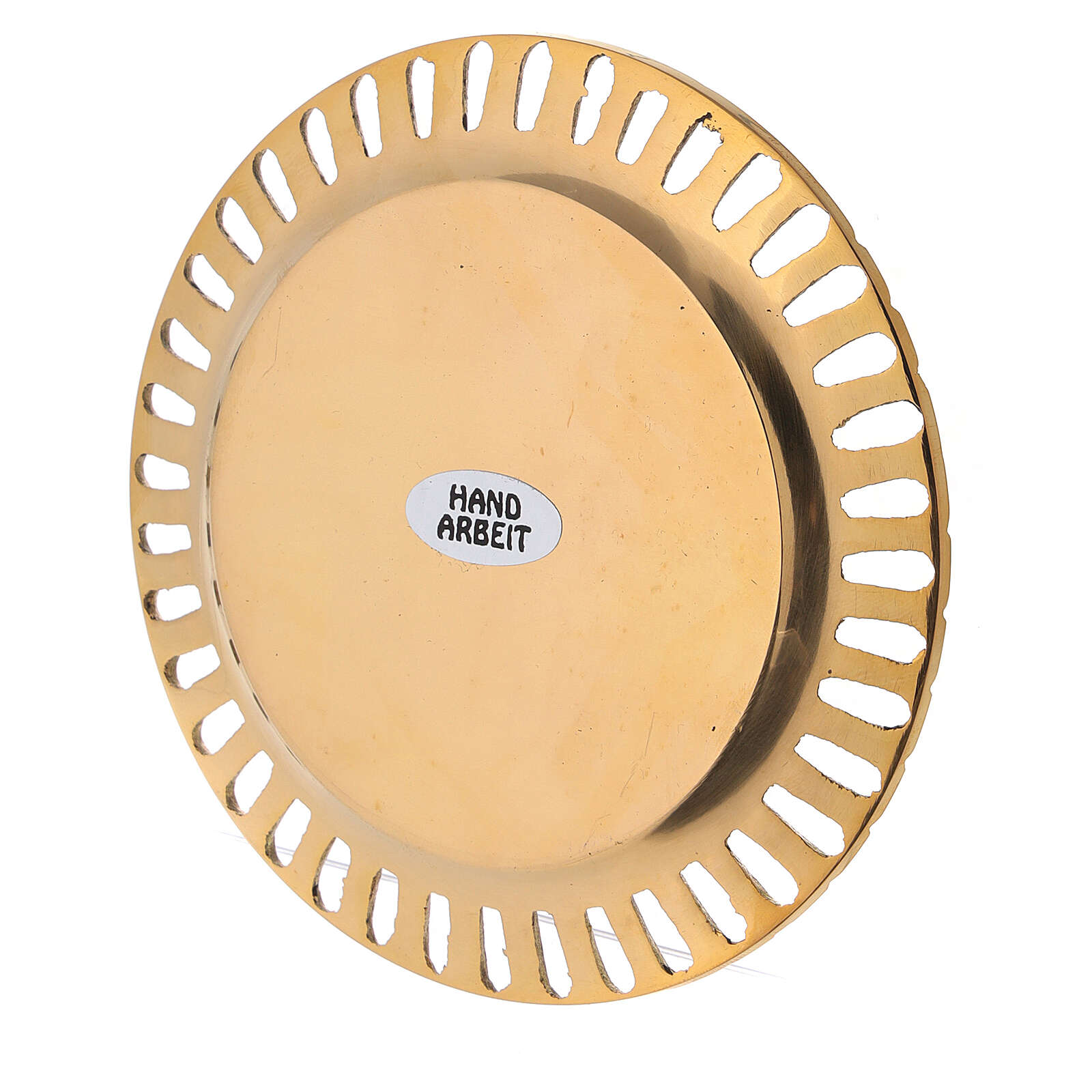 Perforated candle holder plate in polished gold plated brass d. 2 3/4 in 3