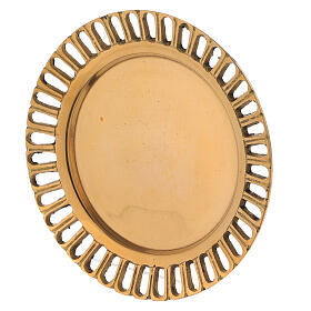Perforated candle holder plate in polished gold plated brass d. 2 3/4 in s2