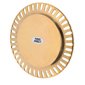Perforated candle holder plate in polished gold plated brass d. 2 3/4 in s3