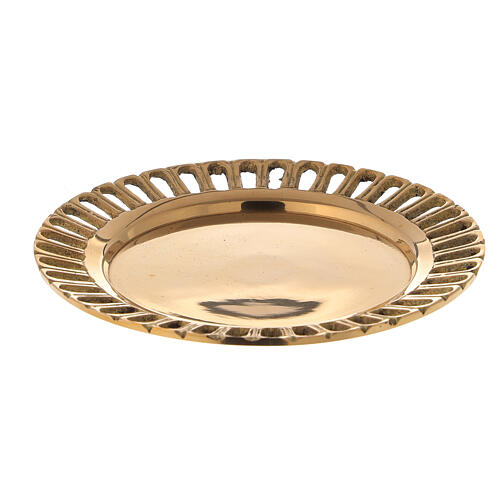 Perforated candle holder plate in polished gold plated brass d. 2 3/4 in 1
