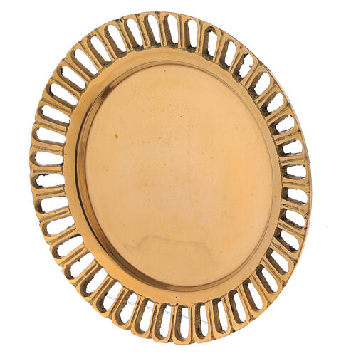 Perforated candle holder plate in polished gold plated brass d. 2 3/4 in 2