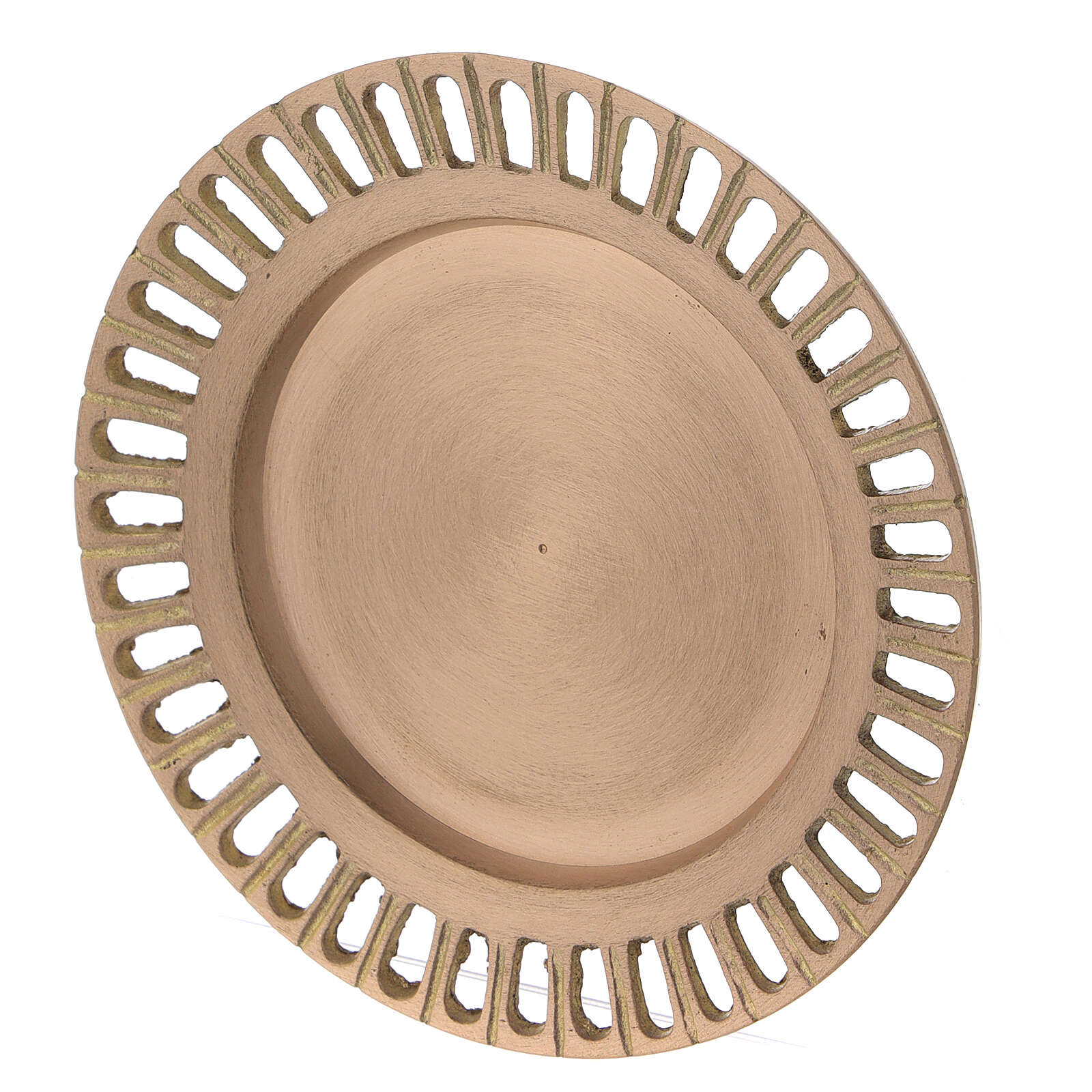 Assiette pour bougie laiton doré satiné ajouré 11 cm 3