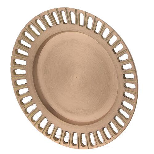 Assiette pour bougie laiton doré satiné ajouré 11 cm 2