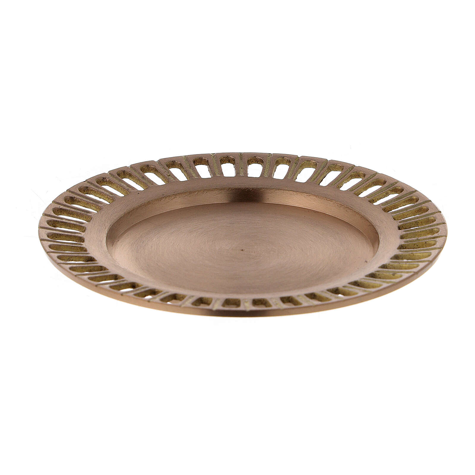 Piatto per candela ottone dorato satinato traforato 11 cm 3