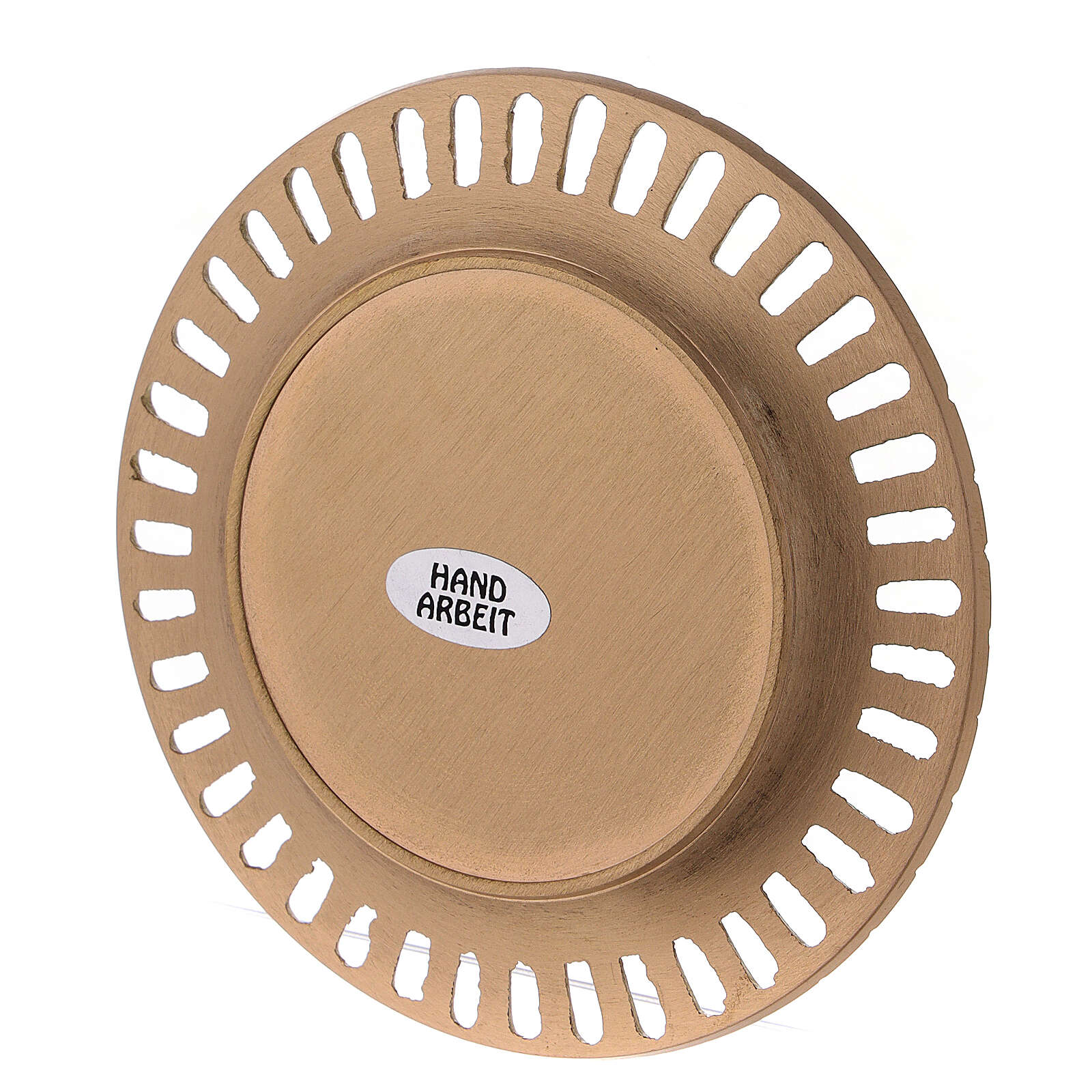 Perforated plate for candles gold plated brass satin finish 4 1/4 in 3