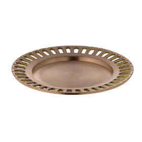 Perforated plate for candles gold plated brass satin finish 4 1/4 in s1