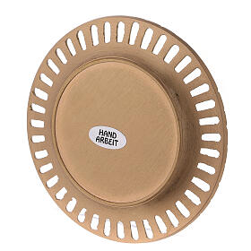Perforated plate for candles gold plated brass satin finish 4 1/4 in s3