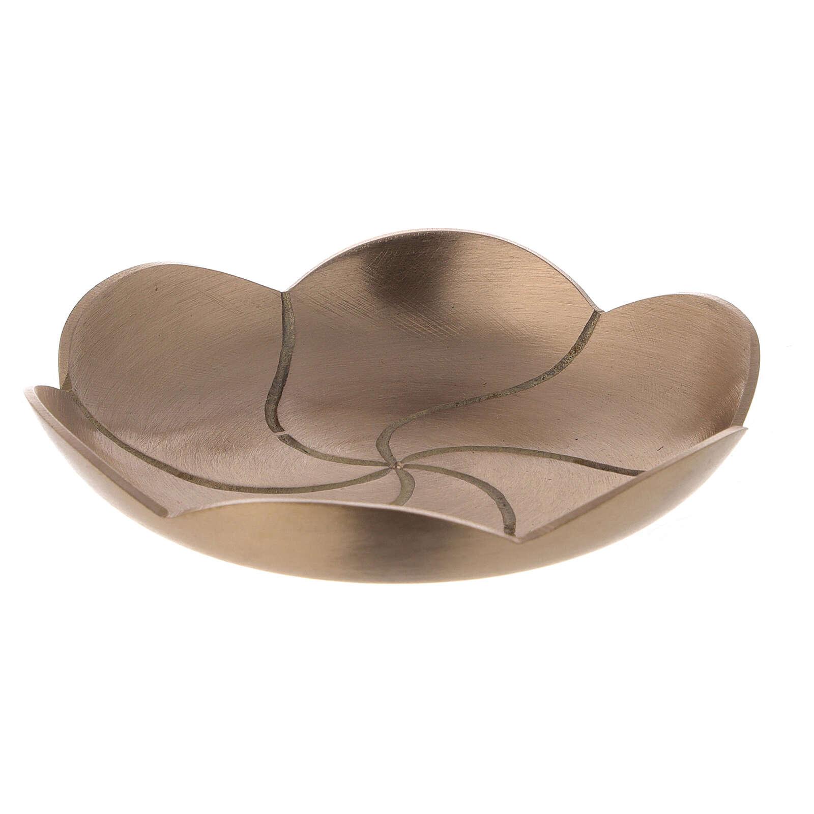 Plato portavela loto latón satinado 12 cm 3