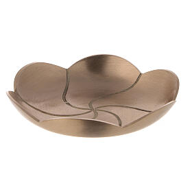 Lotus flower candle holder plate satin finish brass 4 3/4 in s1