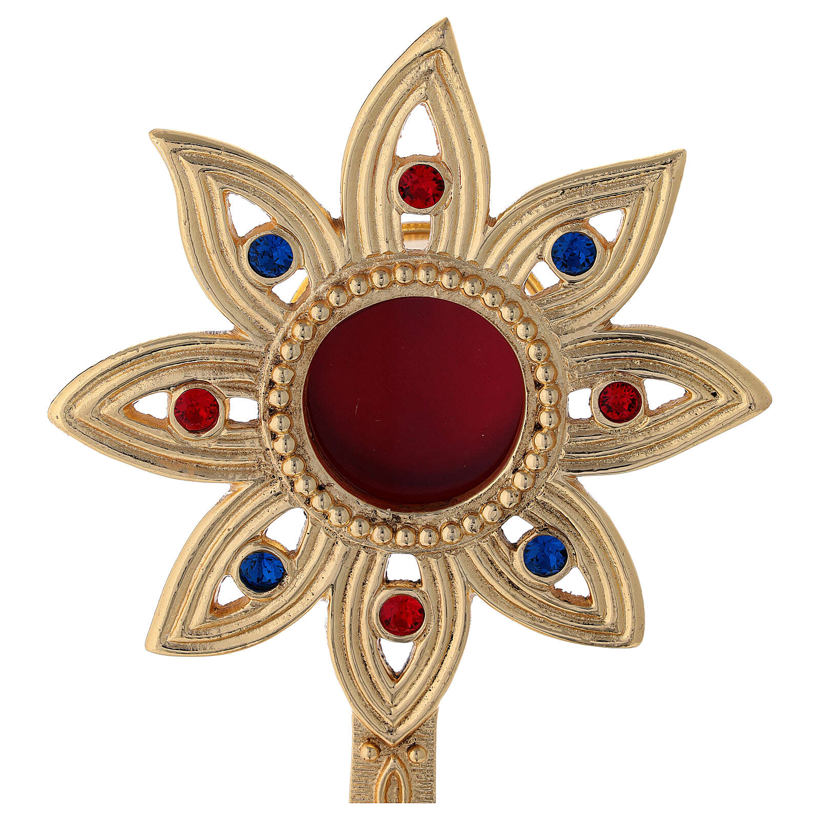 Flower shaped reliquary in gold plated brass with crystals h 9 in 4