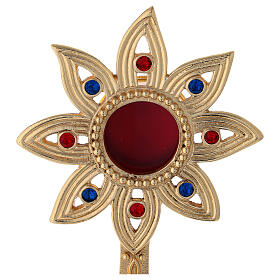 Flower shaped reliquary in gold plated brass with crystals h 9 in s2