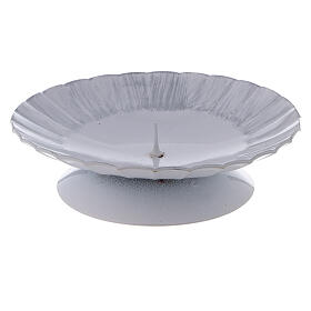 Portavela olas hierro blanco plata punta d. 11 cm s1