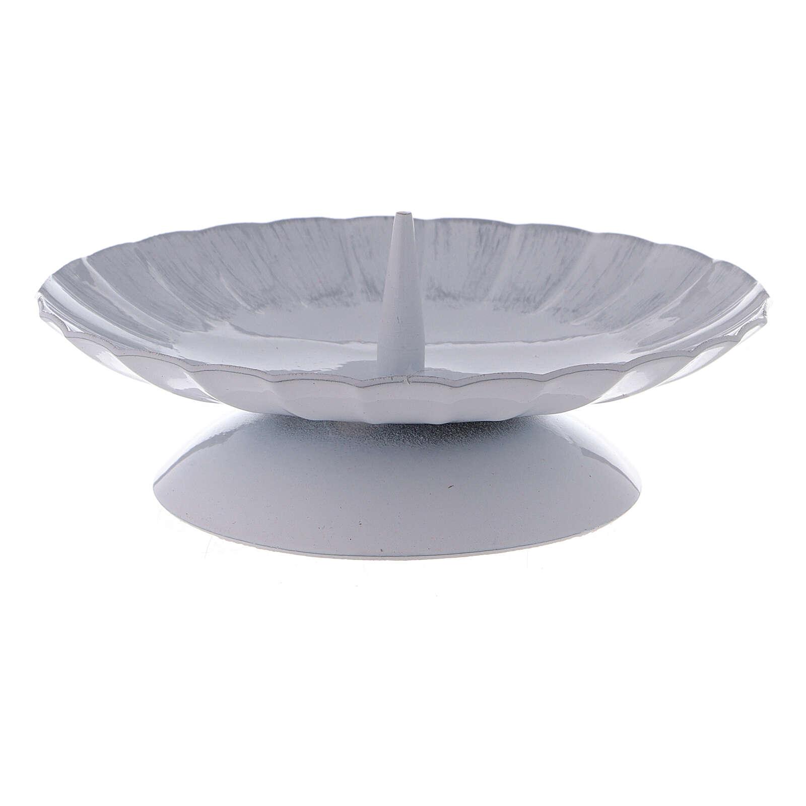 Portavela con punta hierro blanco plata d. 12 cm 3
