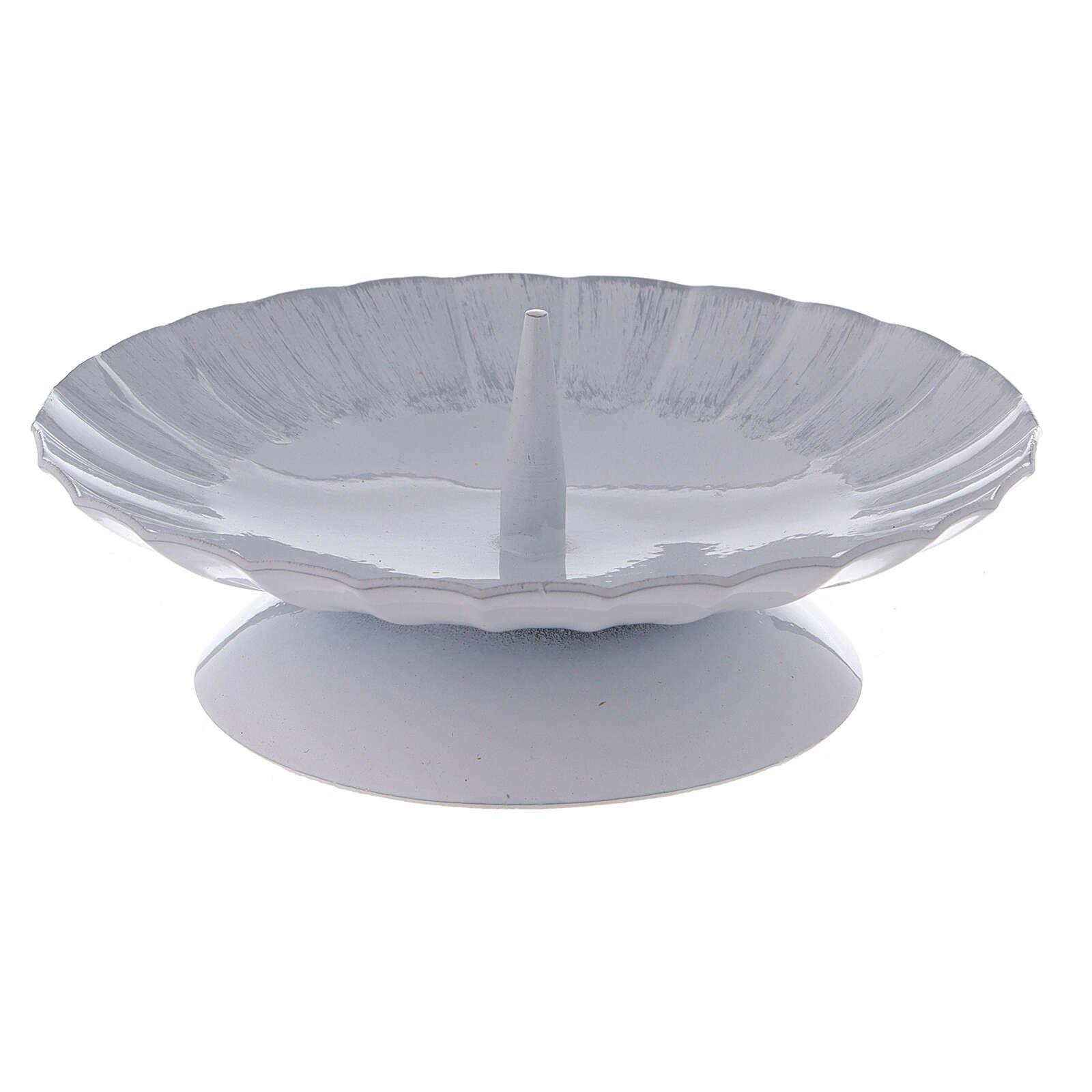 Portacandela con punzone ferro bianco argento d. 12 cm 3