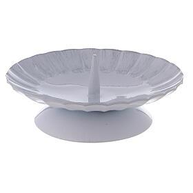 Portacandela con punzone ferro bianco argento d. 12 cm s1