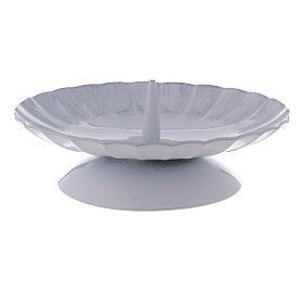 Portacandela con punzone ferro bianco argento d. 12 cm s2