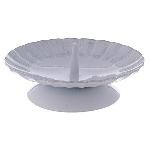 Portacandela con punzone ferro bianco argento d. 12 cm 1
