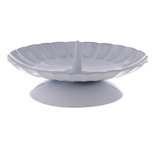 Portacandela con punzone ferro bianco argento d. 12 cm 2