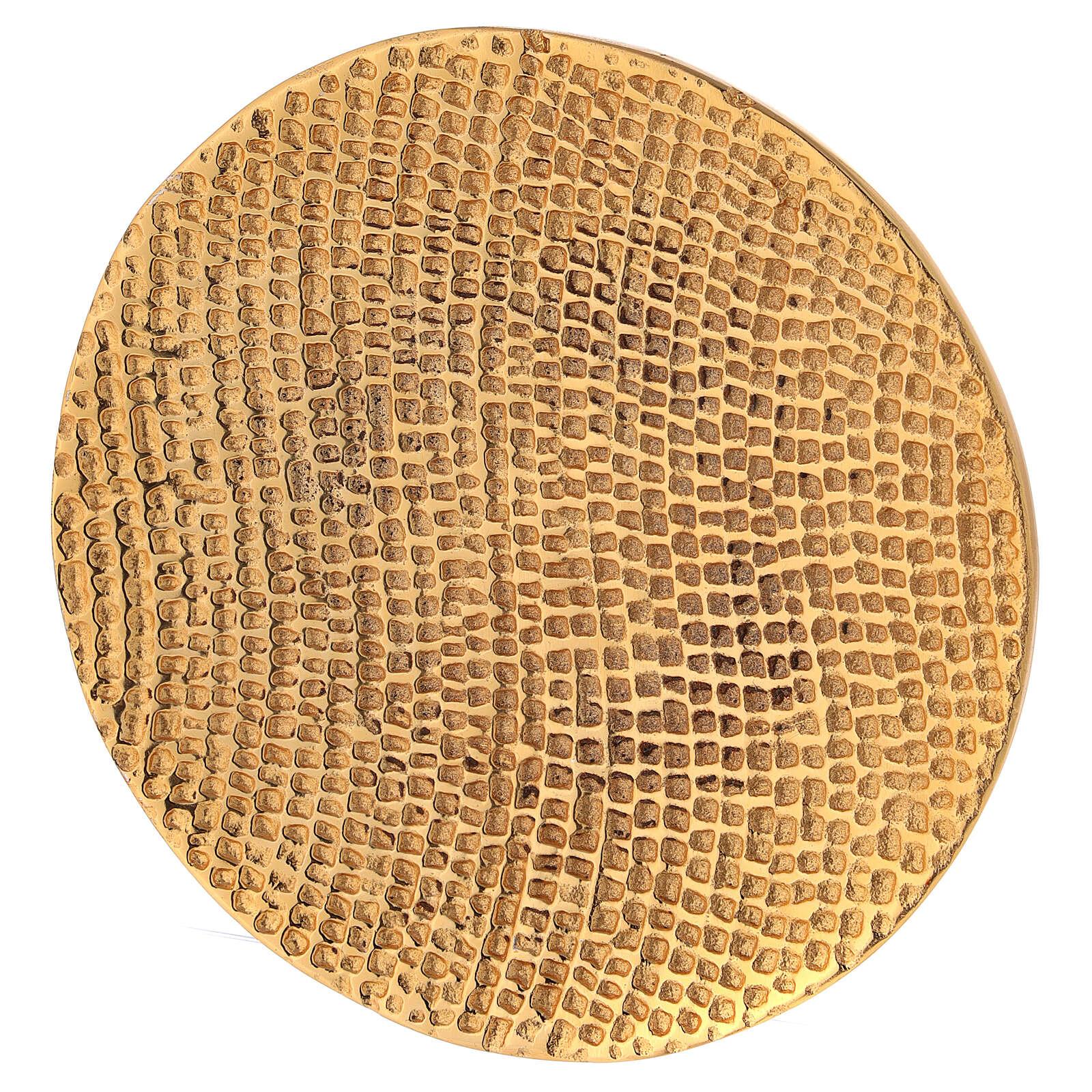 Plato portavela aluminio dorado nido de abeja d. 14 cm 3