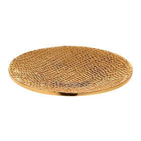 Plato portavela aluminio dorado nido de abeja d. 14 cm s1