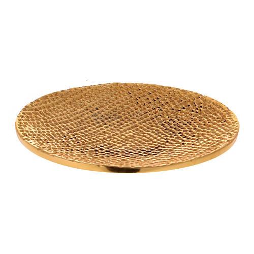 Plato portavela aluminio dorado nido de abeja d. 14 cm 1