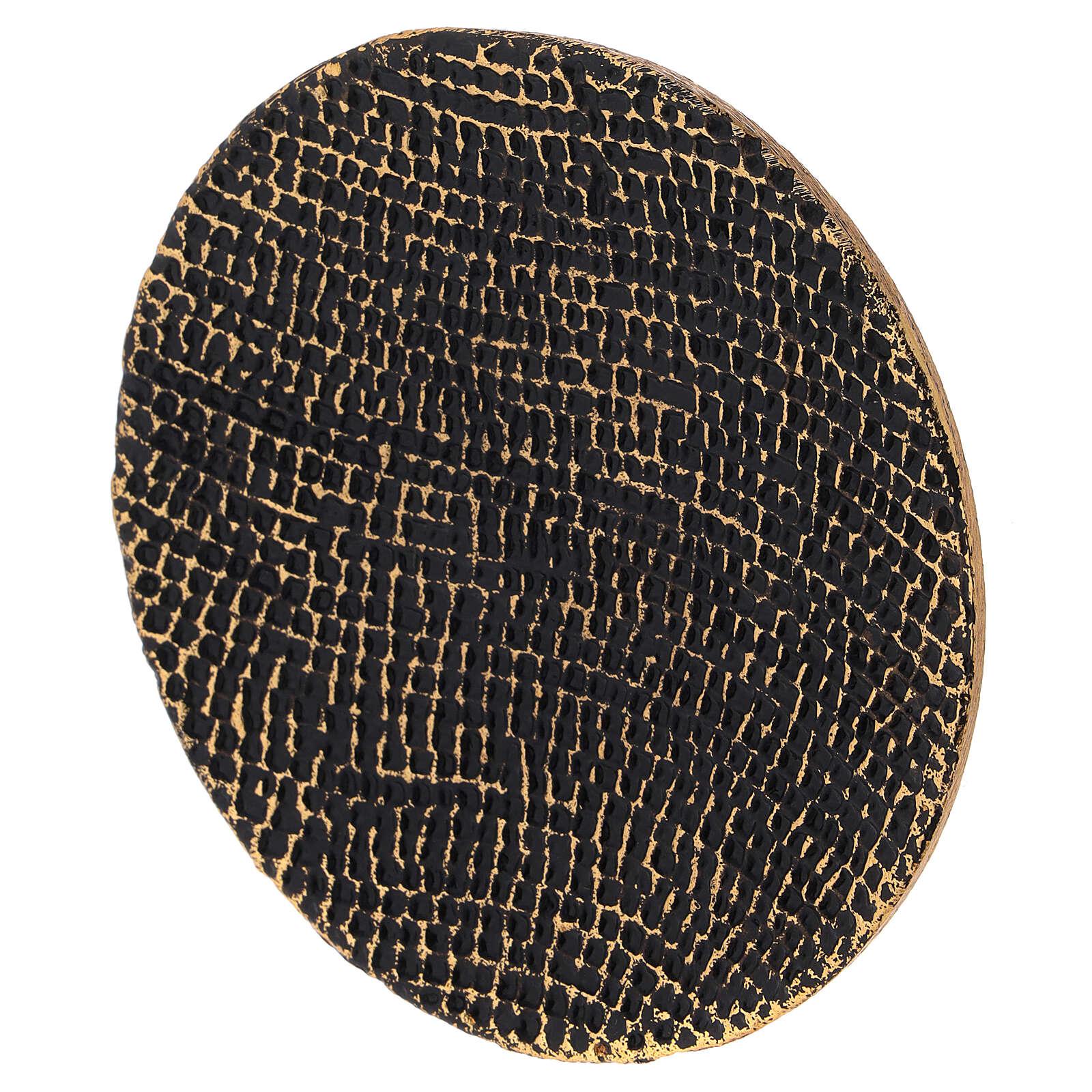 Plato portavela nido de abeja negro oro diámetro 14 cm 3