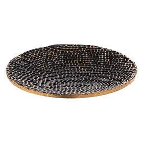 Plato portavela nido de abeja negro oro diámetro 14 cm s1