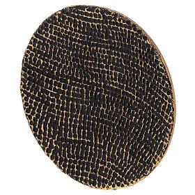 Piatto portacandela nido d'ape nero oro diametro 14 cm s2