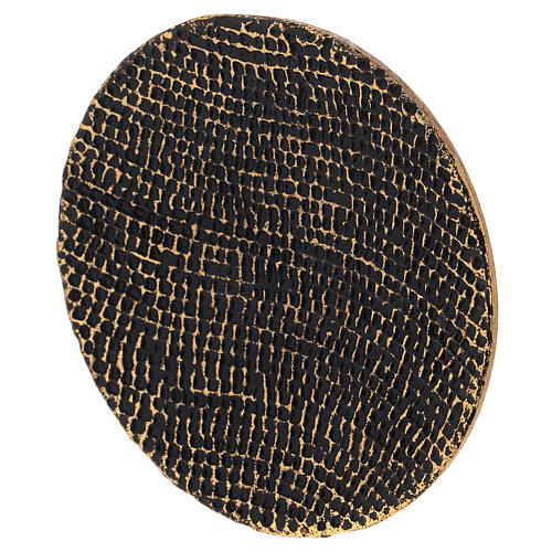 Piatto portacandela nido d'ape nero oro diametro 14 cm 2