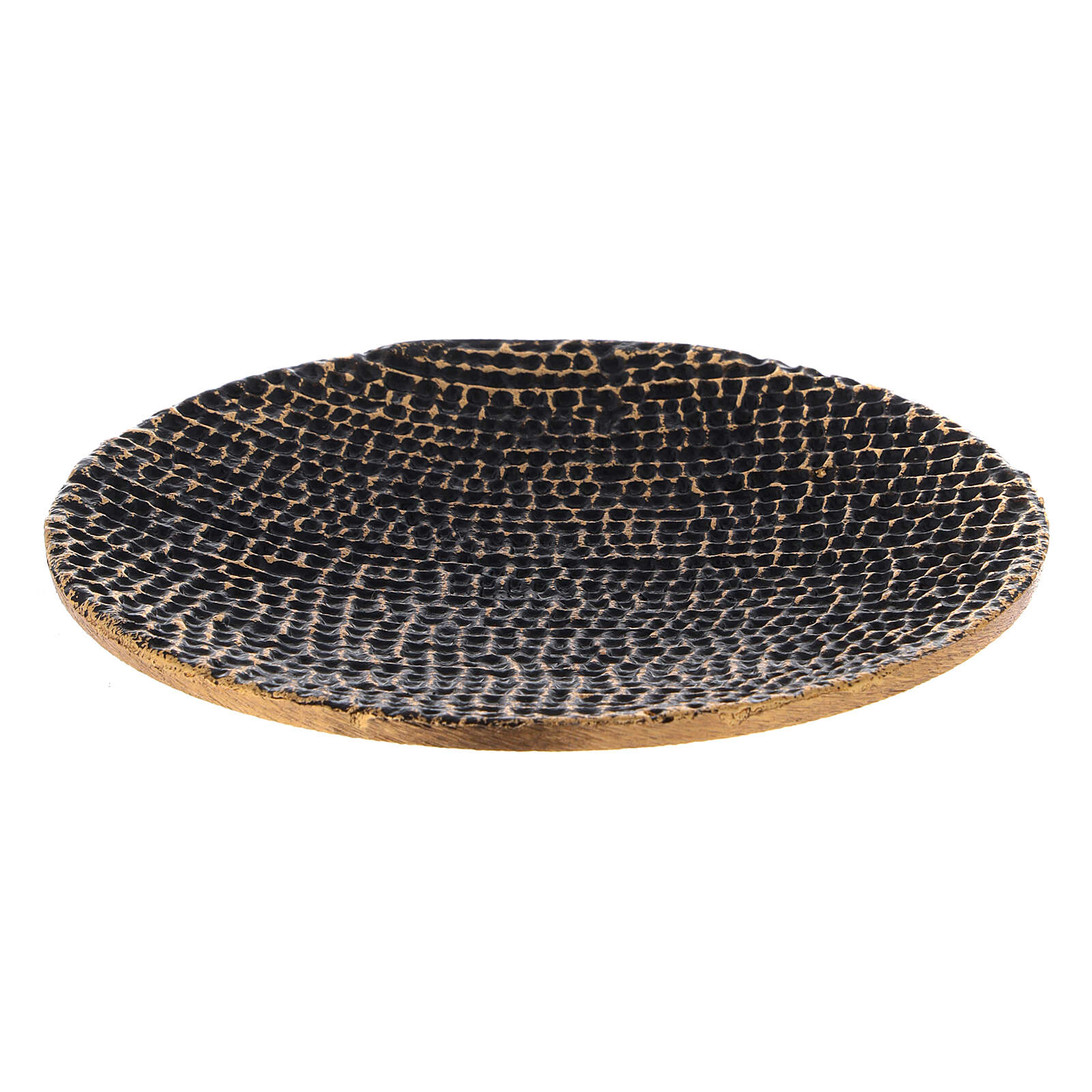 Honeycomb candle holder plate black and gold diameter 5 1/2 in 3