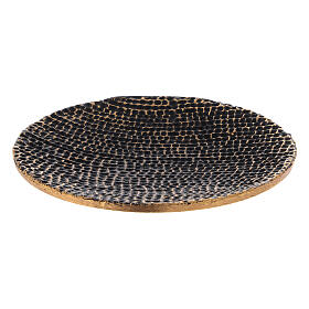 Honeycomb candle holder plate black and gold diameter 5 1/2 in s1