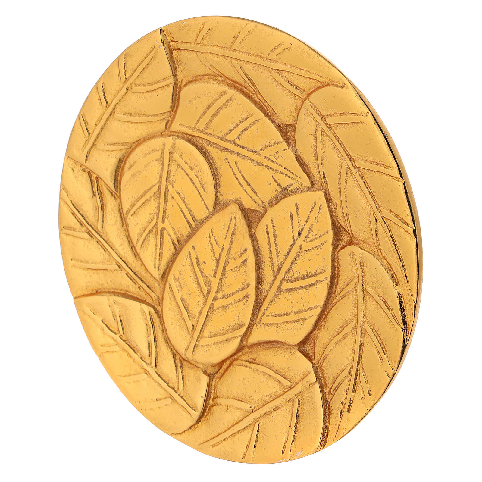 Piatto per candela foglie incise alluminio dorato d. 14 cm 3
